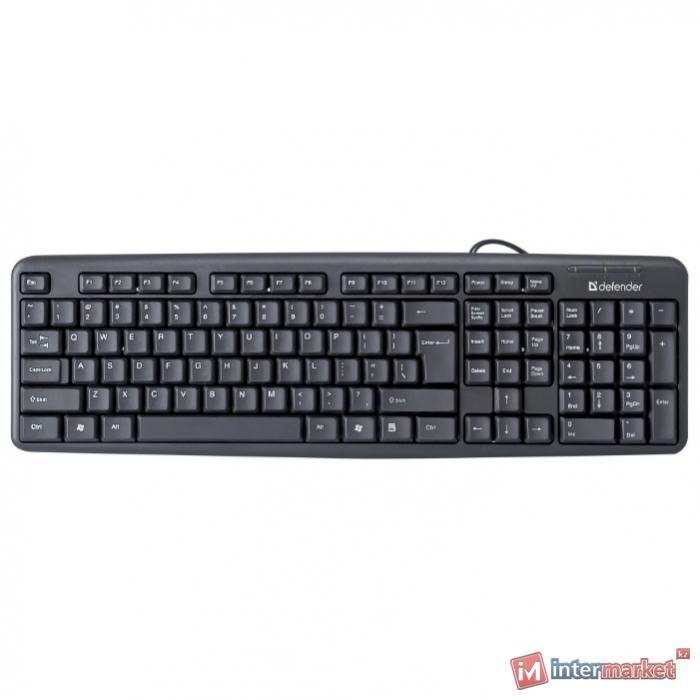 Клавиатура Defender Element HB-520 B (Черный), USB, ENG/RUS/KAZ,стандарт
